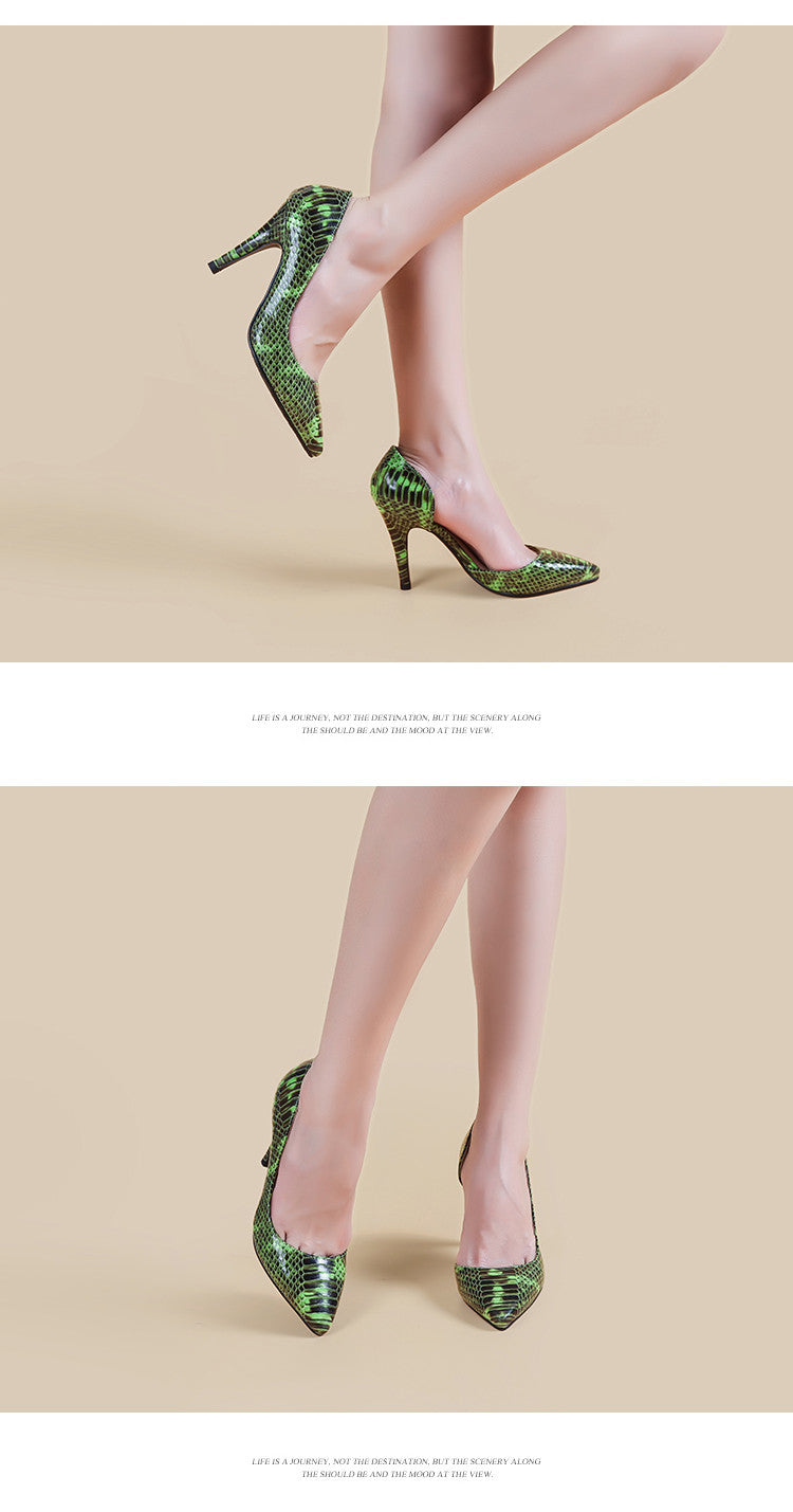 Exotic Snakeskin Glossy Camouflage Fashion Party Heels