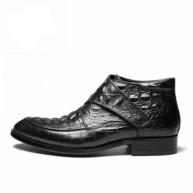 Cow Leather Crocodile Pattern Flat  Ankle Chelsea Brogue Boots