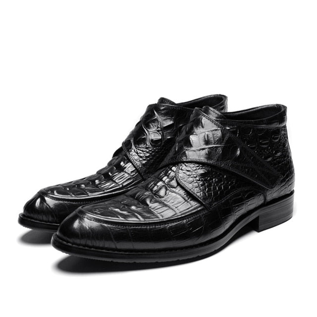 Crocodile Pattern Round Toe Genuine Cow Leather Soft Basic Boots
