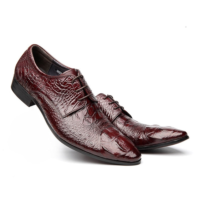 Pointed Toe Lace Up Full Grain Leather Alligator Texture Brogue Dress Shoes
