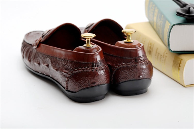 Cow Leather Crocodile Pattern Handmade Vintage Oxford Loafers