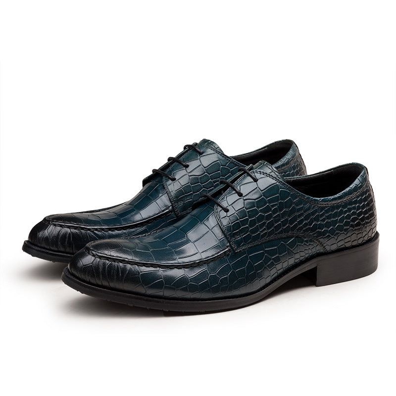 Alligator Print Pattern Cow Leather Lace Up Derby Dress Shoes