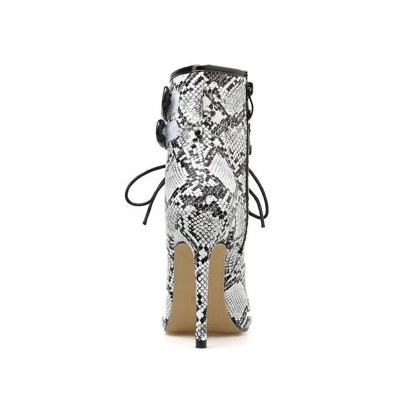 Snakeskin Pattern Cross-Tied Gladiator Stiletto High Heels Motorcycle Boots