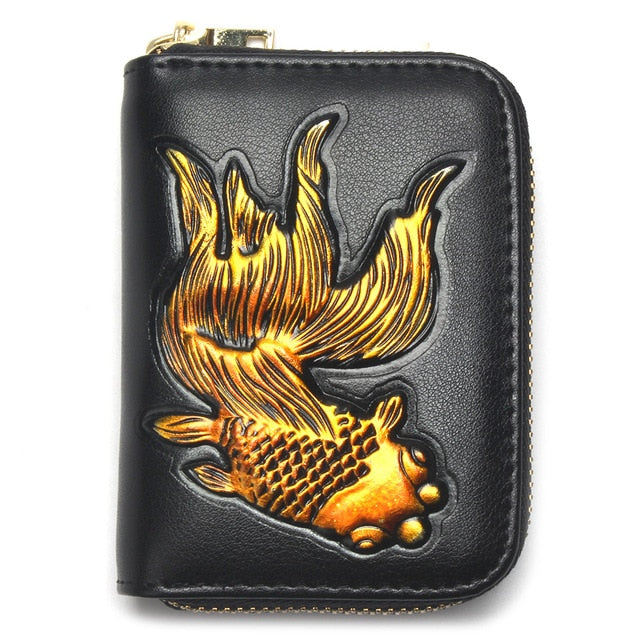 Exotic Pattern Cow Leather Latest Goldfish Design Small Wallet