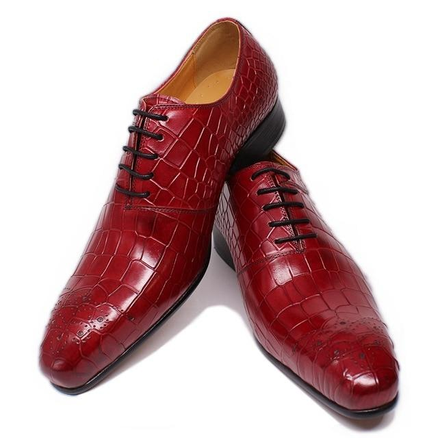 Formal Wedding Leather Crocodile Print Pattern Lace-Up Oxford Dress Shoes