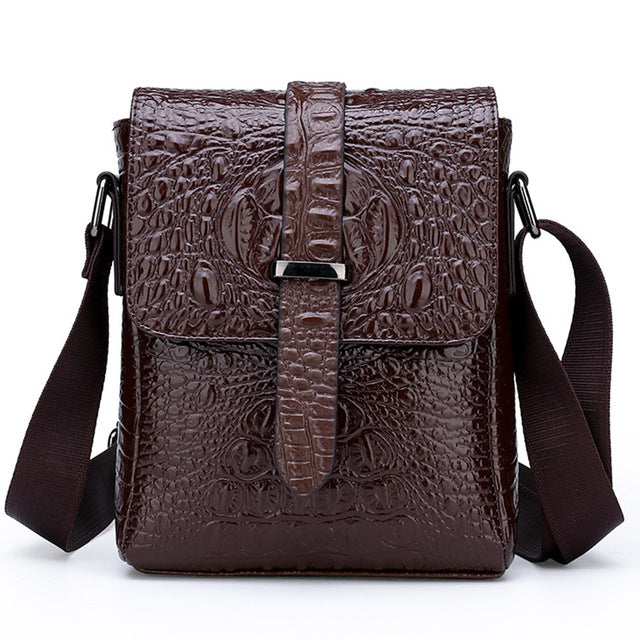 PU Leather Alligator Pattern Single Strap Soft Flap Messenger Bag