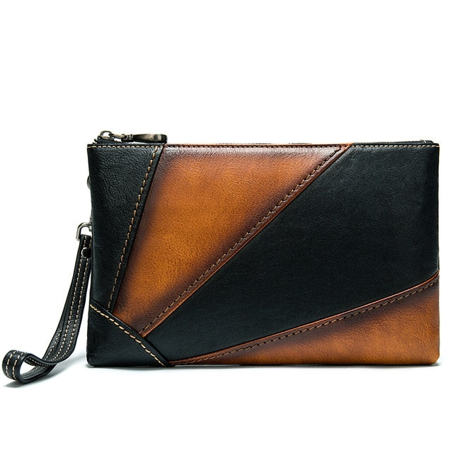 Cow Leather Solid Pattern Flap Shaped Envelope Clutch Wallet
