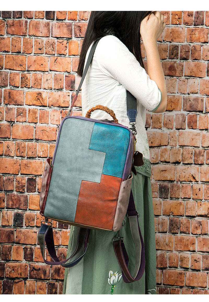 Leather Embossed Exotic Textured Patchwork Softback Laptop Backpack