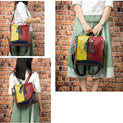 Exotic Texture Leather Patchworked Convertible Backpack