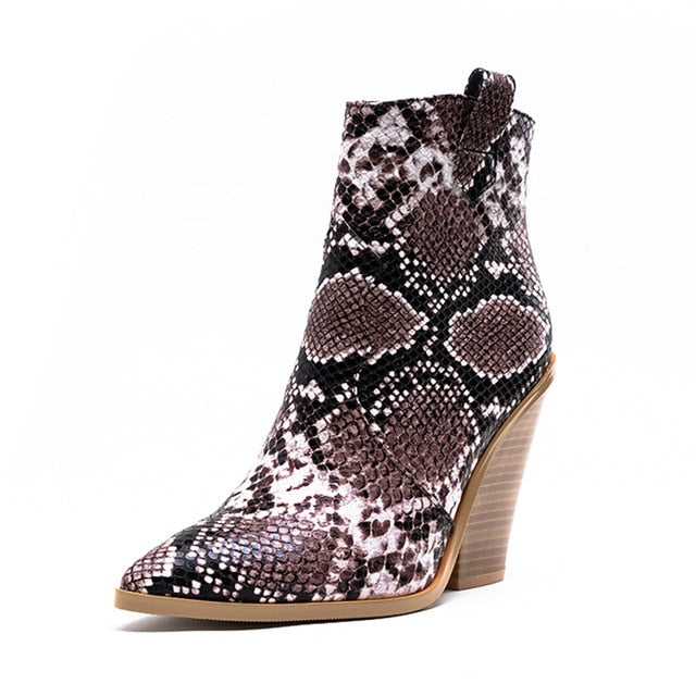 Winter Big Size Snake Skin Print Western High Wooden Heels Ankle Boots
