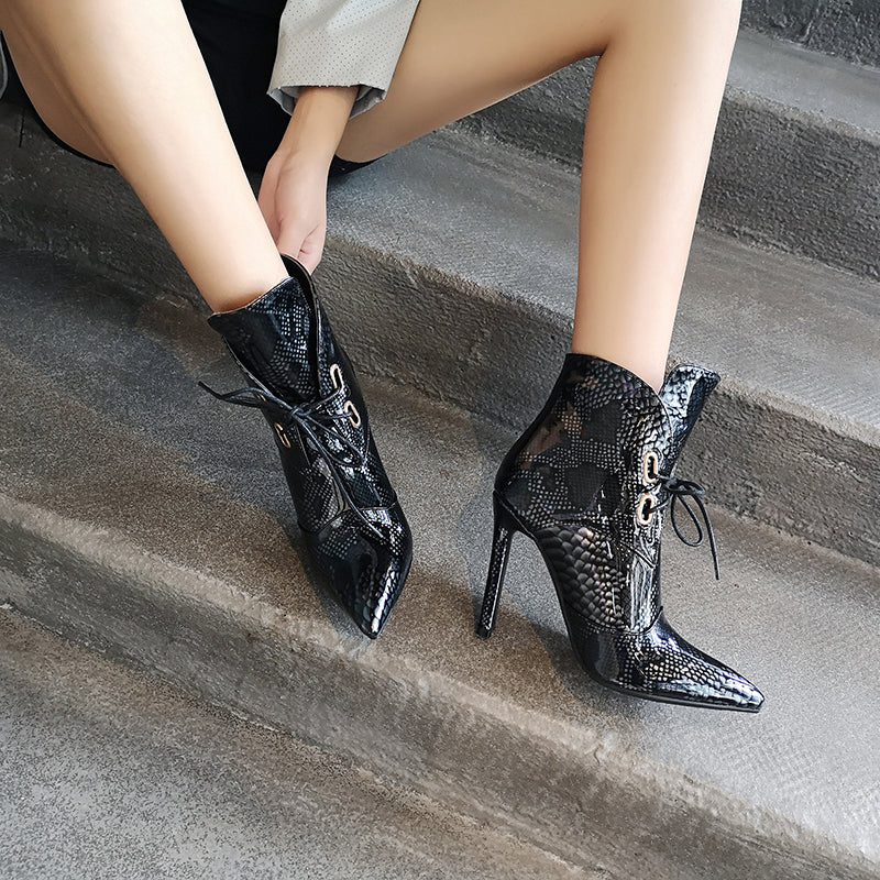 Winter Big Size Thin High Heels Pointed Toe Lace Up  Ankle Boots
