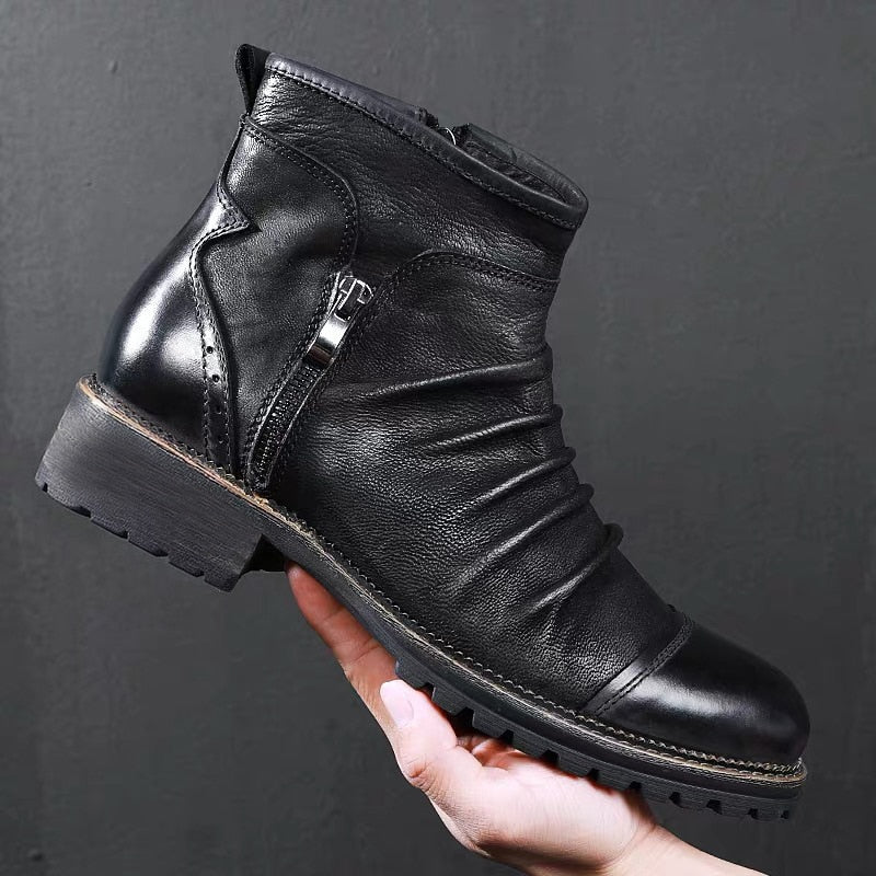 PU Leather Zipper Round Toe Exotic Retro Ankle Motorcycle Boots
