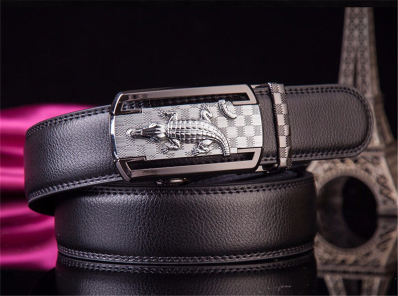 Exotic Solid Pattern with Automatic Buckle Cow Leather Waist Strap Belt
