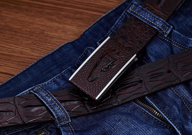 Leather Crocodile Pattern Smooth Buckle Solid Striped Belt