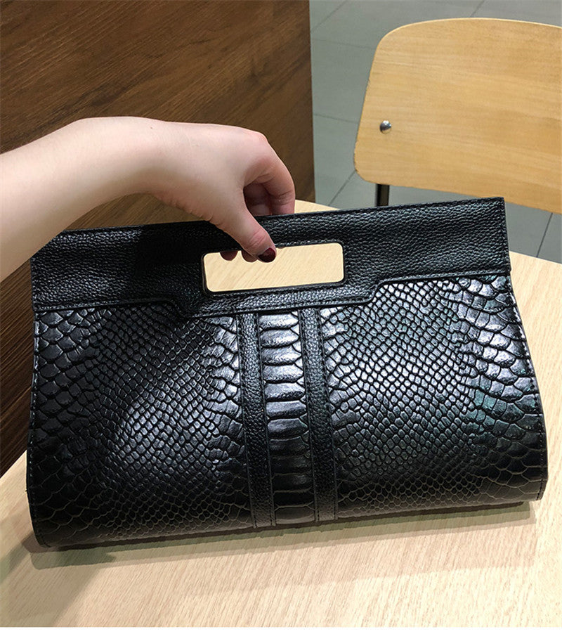 Snake Exotic Texture Split Leather Chain Clutch