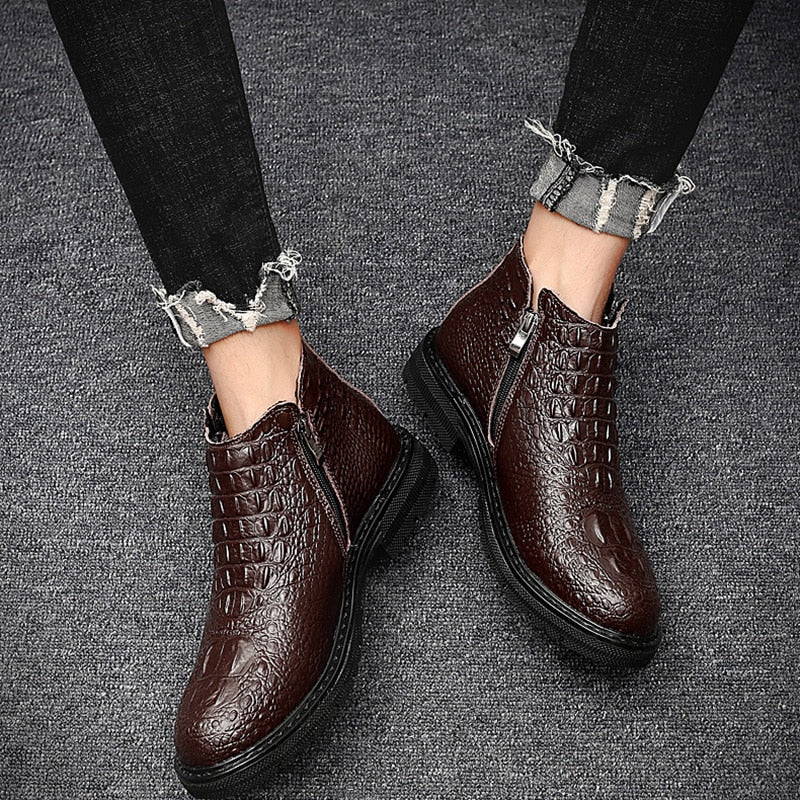 Cow Leather Crocodile Pattern Ankle Height Motorcycle Boots