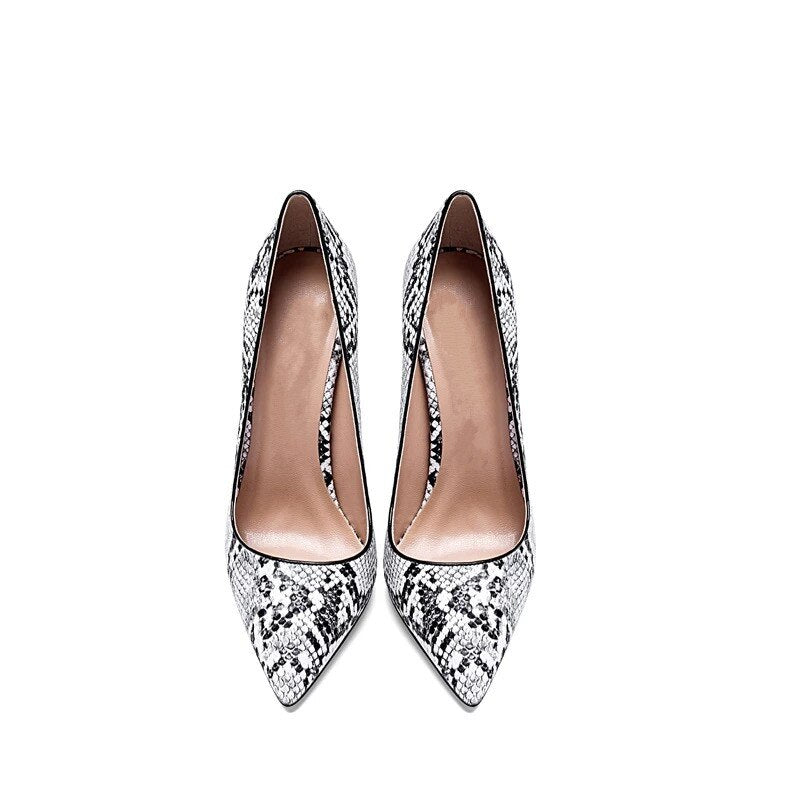 Snake Skin Pattern Pointed Toe Spring Party Stiletto High Pumps Heels