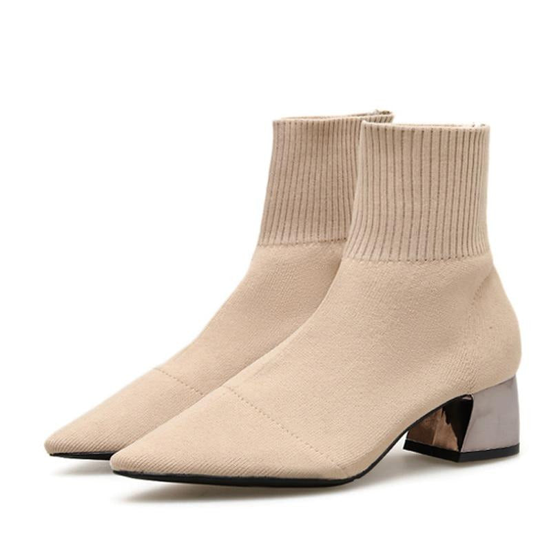 Exotic Knitted Stretch Fabric High Square Heels Pointed Toe Sock Boots