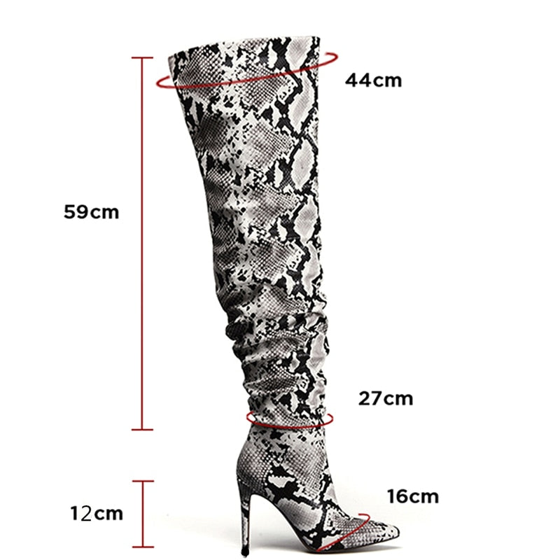 Winter Snake Skin Pattern Over The Knee Slouch High Heels Pointed Toe Boots