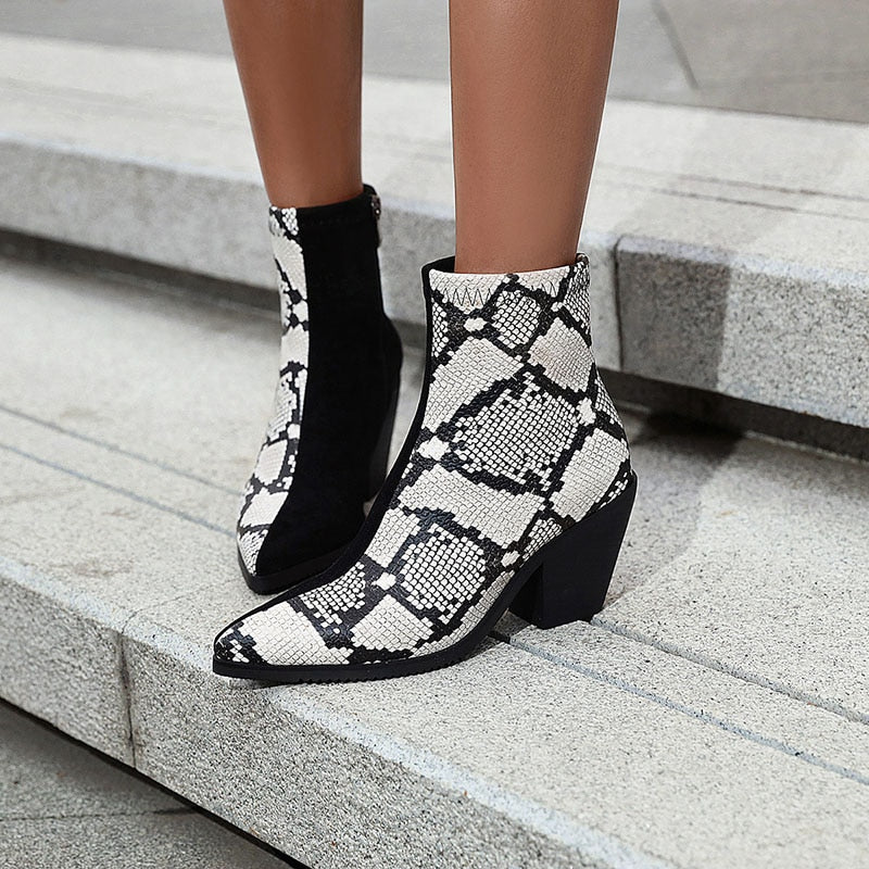 Winter Snake Skin Pattern High Heels Pointed Toe Western Ankle Boots
