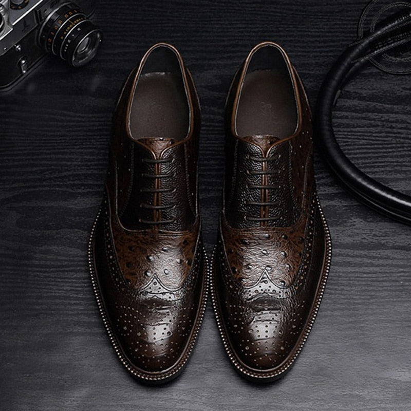 Cow Leather Embossed Croc-Pattern Lace Up Casual Brogues Shoes