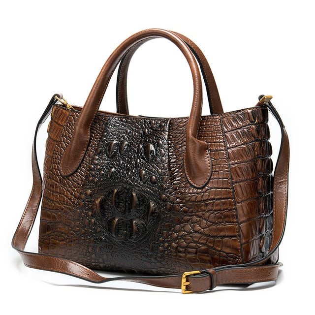 Croc-Embossed Pattern Cow Leather Designer Tote Briefcase Shoulder Bag