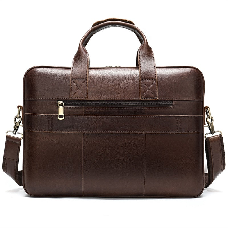 "15"" Exotic Leather Zipper Soft Handle Office Document Briefcase Bag"