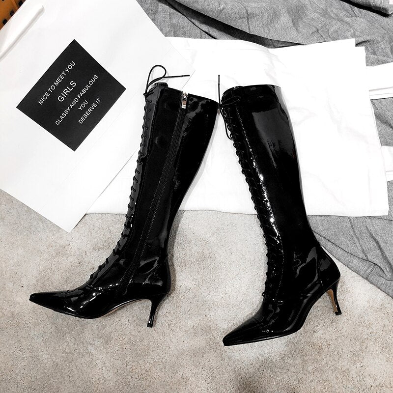 Winter Sexy Snake Skin Pattern Knee High Pointed Toe Cross Tied Party Boots