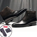 Handmade Exotic Genuine Cow Leather Chelsea Brogue Ankle Boots