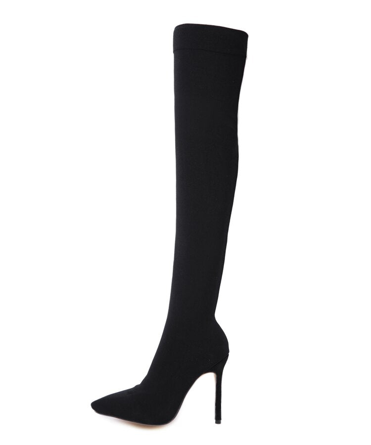 Rhinestone Stretch Cloth Pointed Toe Slip-on Over the knee Socks Boots