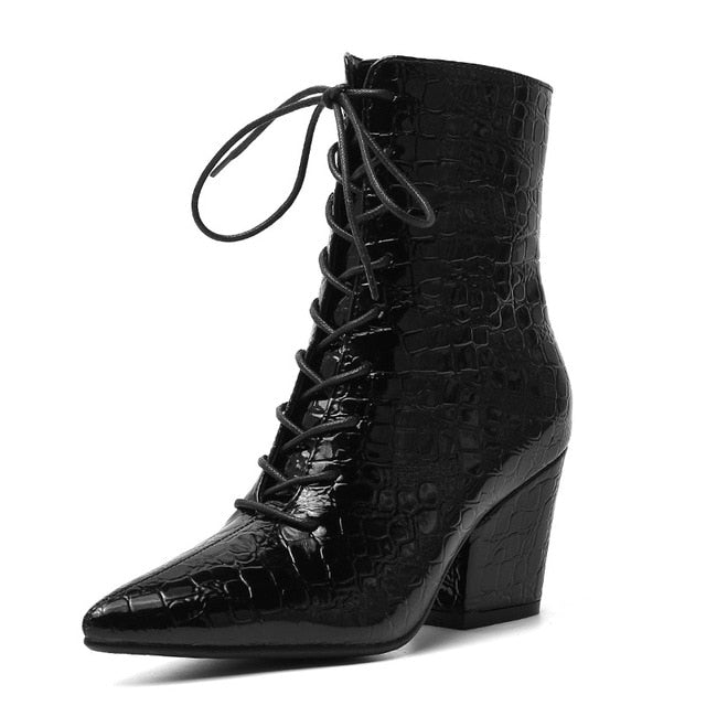 Winter Embossed Crocodile Pattern Lace Up Pointed Toe Motorcycle Boots