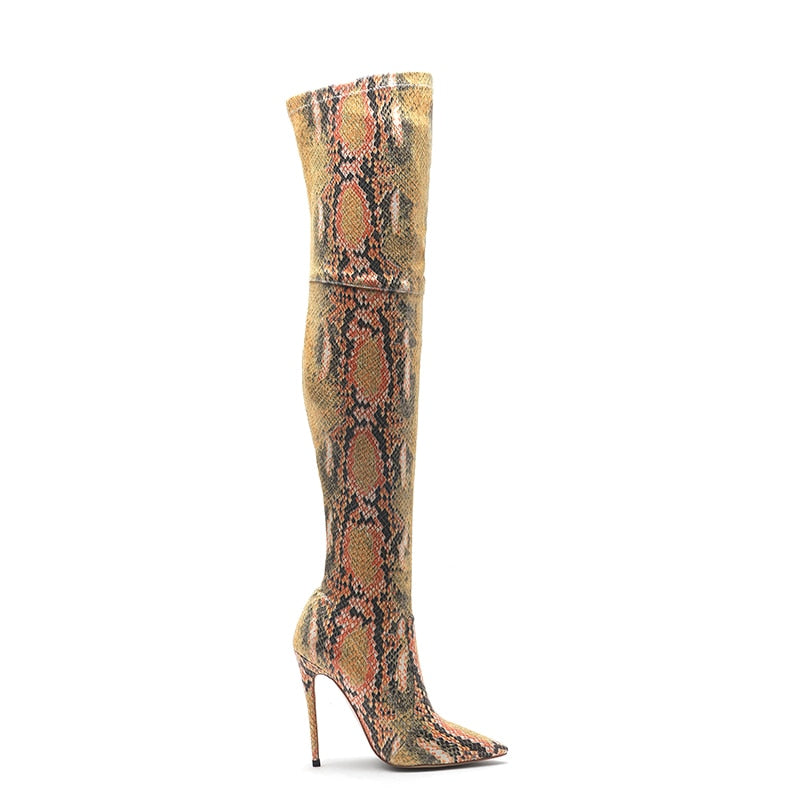 Winter Big Size Snake Skin Pattern Over The Knee Pointed Toe Stretch Boots