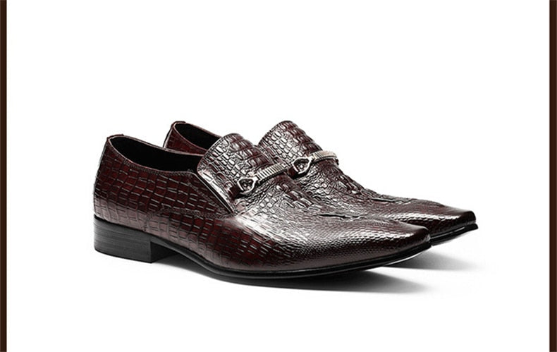 Stylish Cow Leather Crocodile Texture Dress Shoes