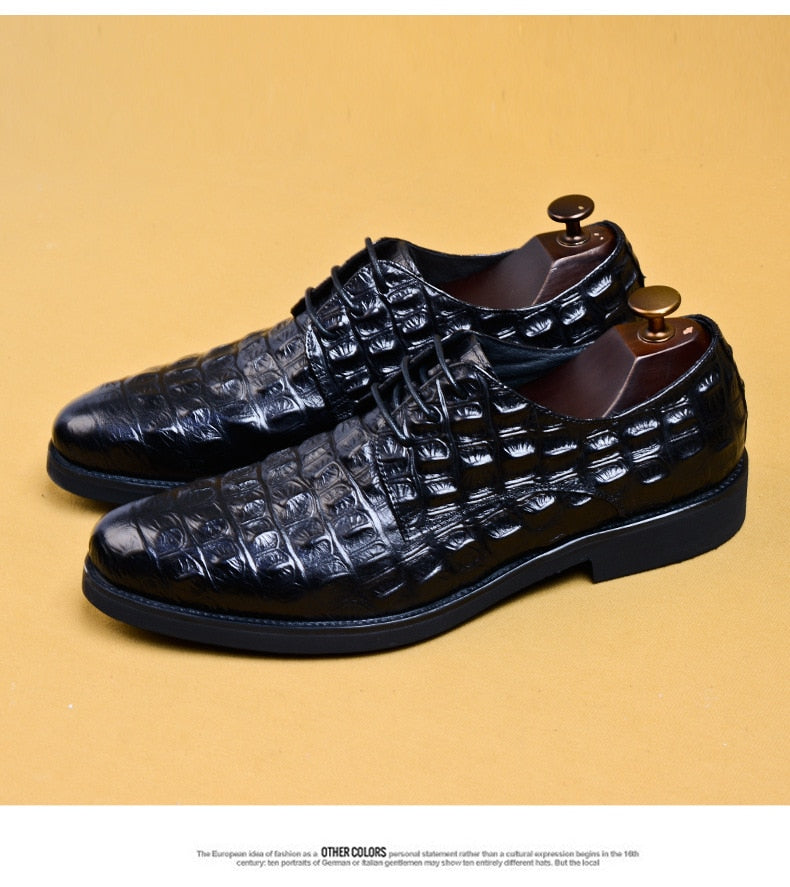 Cow Leather Glossy Croco Pattern Lace Up Derby Shoes