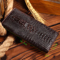 Oil Wax Genuine Leather Crocodile Pattern Standard Wallet