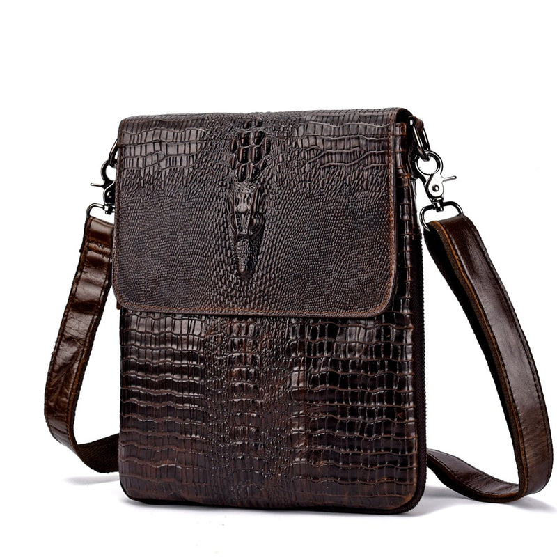 Luxury Crocodile Pattern Oil Wax Cowhide Leather Messenger Bag
