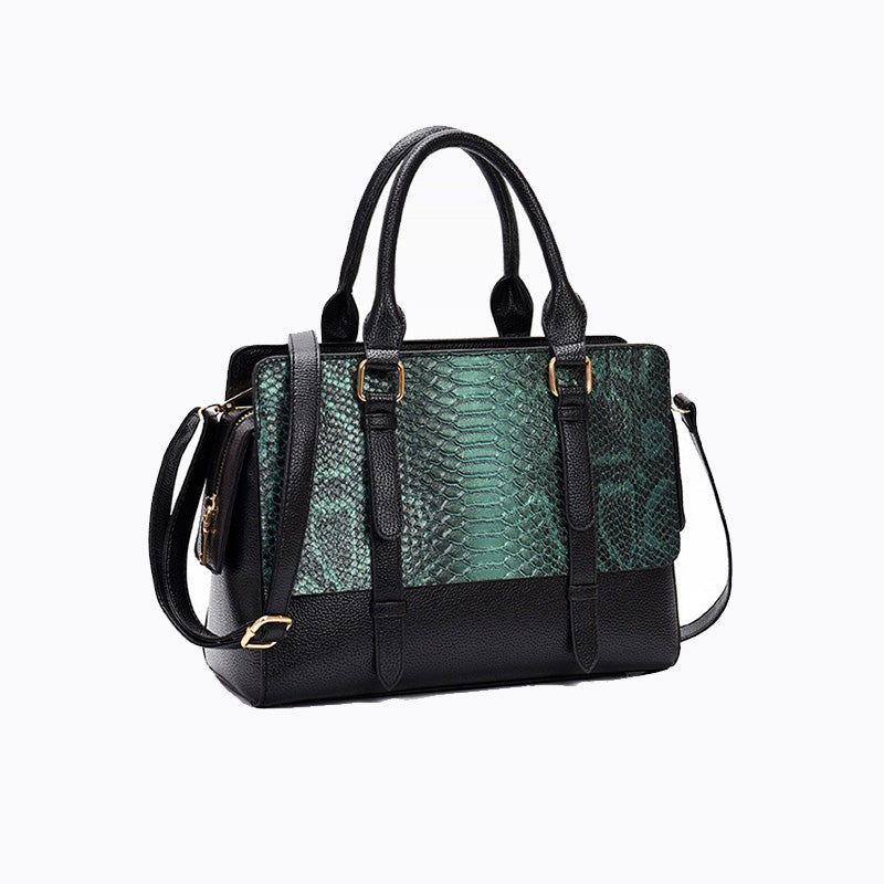 Exotic PU Leather Solid Serpentine Pattern Shoulder Tote Bag