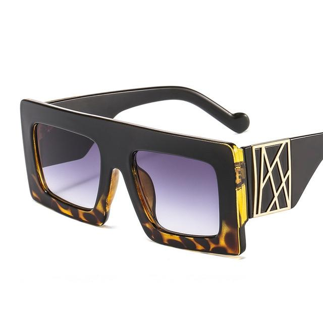 Vintage Exotic Leopard Frame Oversized Square UV400 Retro Sunglasses