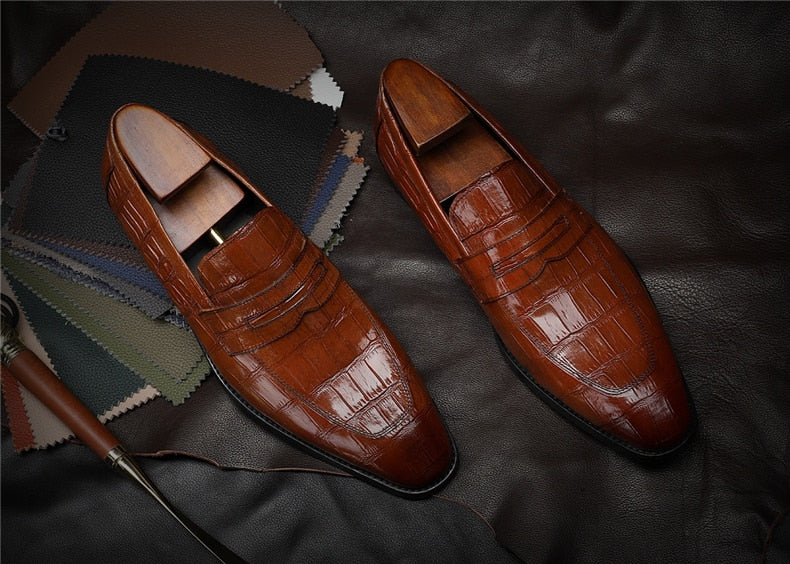 Alligator Texture Slip-On Full Grain Leather Dress Shoes