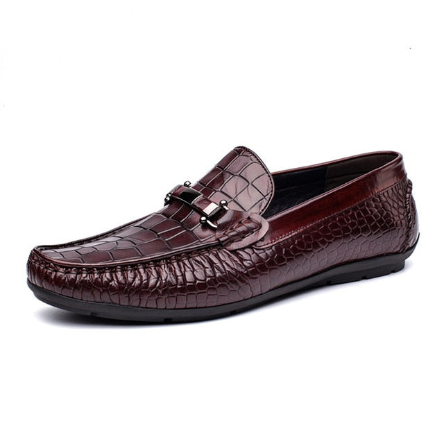 Leather Alligator Pattern Oxford Loafers