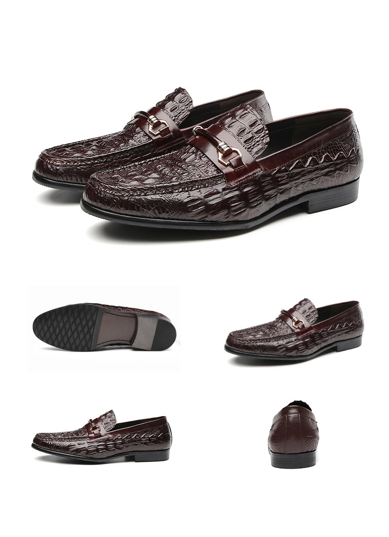 Stylish Crocodile Pattern Full Grain Leather Oxford Loafers
