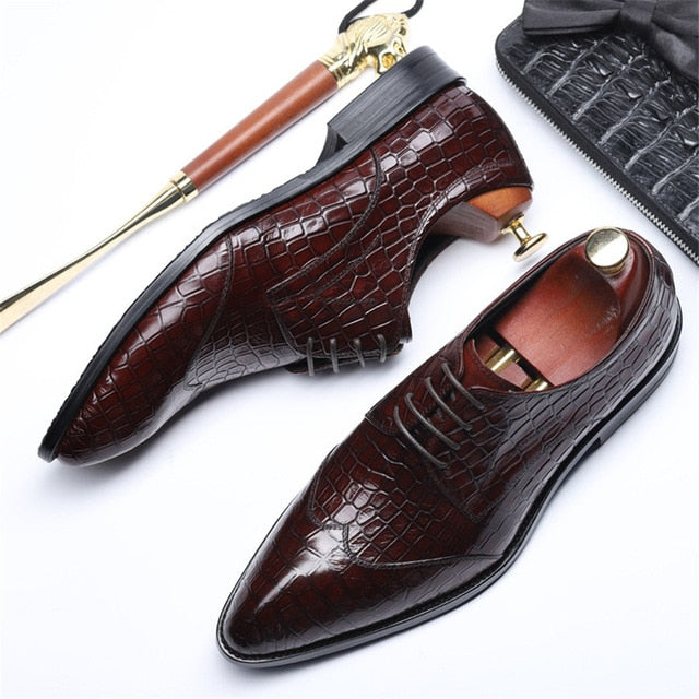 Leather Alligator Pattern Brogue Dress Shoes