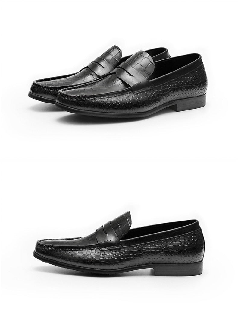 Full Grain Alligator Texture Cow Leather Slip On Brogues Loafers