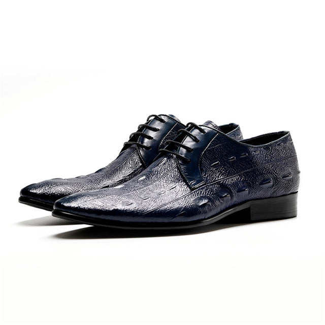 Alligator Pattern Full Grain Cow Leather Lace Up Oxford Dress Shoes