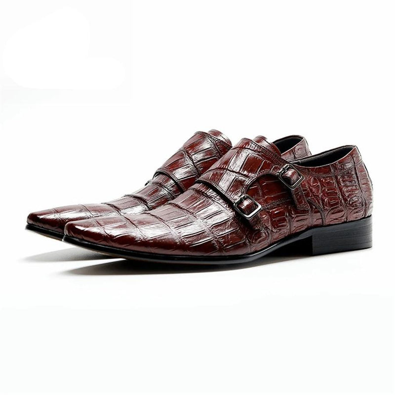 Alligator Pattern Cow Leather Pointed Toe Buckle Brogue Dress Shoes