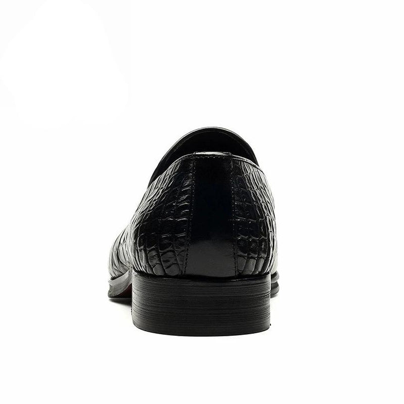 Full Grain Leather Alligator Pattern Tassel Decorated Slip-On Loafers