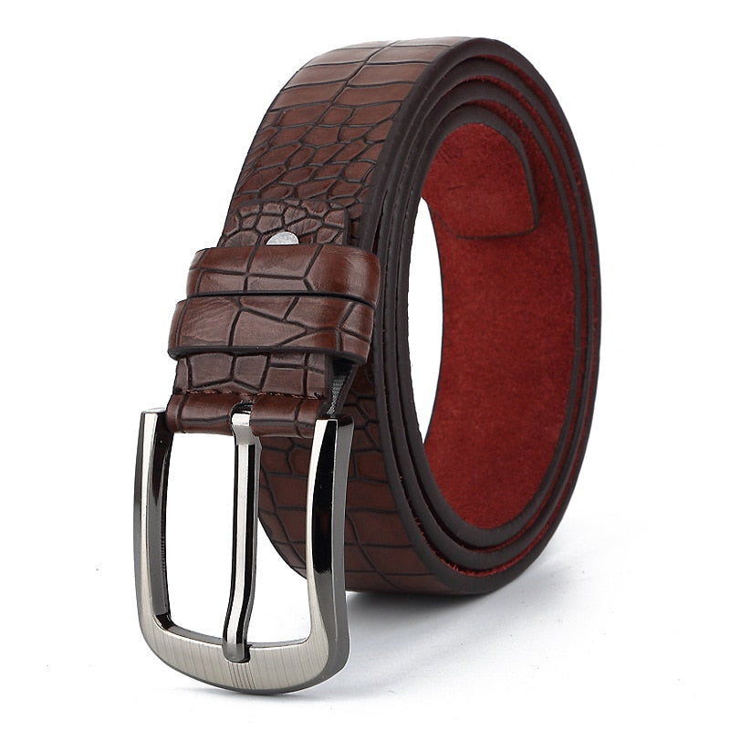 Crocodile Textured Metal Pin Buckle Split Leather Belt