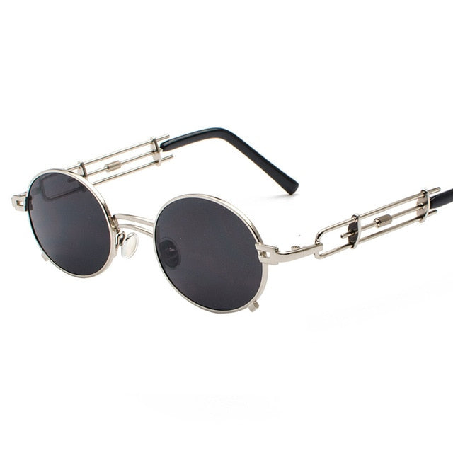 Vintage Metal Retro Round Steampunk Clear Lens Mirror UV400 Sunglasses
