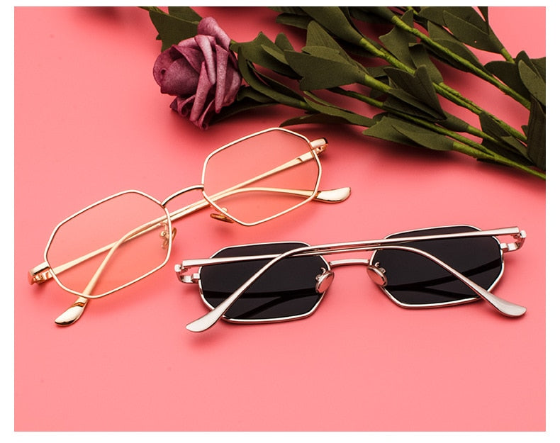 Vintage Polygon Square Small Metal Frame Mirror UV400 Sunglasses