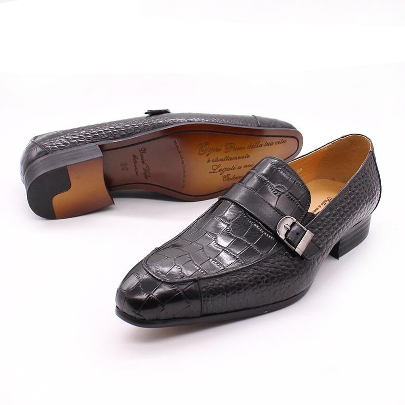 Handmade Crocodile Print Buckle Strap Slip-On Leather Loafer Dress Shoes